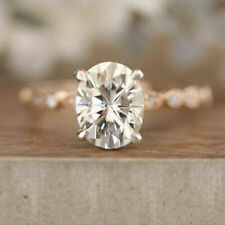 2.00Ct Oval Cut Moissanite Classic Engagement Ring Solid In 14K Yellow Gold Ring
