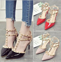 pointues talons hauts orteil femmes Rivet chaussures aiguilles augmenté boucle