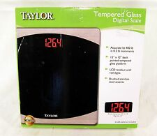 New Opened Taylor 7562 Tempered Glass Digital Bathroom Scale Glass 400 lbs Lcd