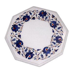 "12"" Corner Marble Table Top Handmade Lapis Semi precious stones floral Work"