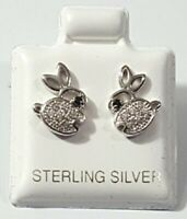 Bunny Rabbit Cubic Zirconia Stud Post Earrings Round 925 Sterling Silver