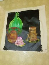 """Painting Unstretched Canvas 28x29"""" Pottery Melted Candles Still Life Teacup OOAK"""