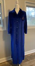 Vintage Royal Blue Velvet Housecoat Robe Velour  Size M
