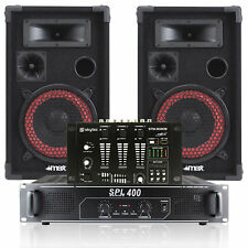 "Pair 8"" DJ Disco Party Speakers with PA Amplifier and Mixer System 500W"