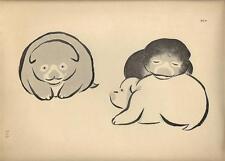 Stampa antica GIAPPONE JAPAN STYLE cuccioli di cane 1885 Antique print