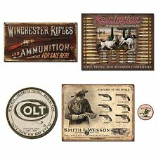 Vintage Metal Signs Gun Bundle - Winchester Rifles & Ammo, Remington Bullet B...