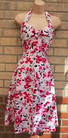 WHITE PINK BLACK FLORAL HALTERNECK COTTON ROCKABILLY SKATER FLIPPY TEA DRESS 10
