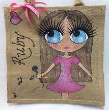 Personalised Little Girl Jute Music Microphone Handbag Hand Bag Gift Bridesmaid