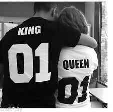Mode T-Shirt Couple Femme Homme Cadeau Saint-valentin Pour Mariage King&Queen