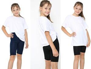 Girls Kids Stretch Cycling Shorts PE School Uniform Dance Gym Swim Viscose