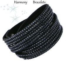 Black Swarovski Elements Bling Wrap Slake Bracelet by Harmony Bracelets