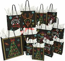 Christmas Gift Bags Glow in Dark Design 12 Bags with Tissue Papers For Party