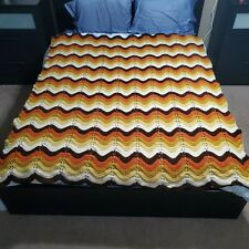 Vintage Handmade Crocheted Multicolor Wave / Chevron Afghan Blanket  64x77