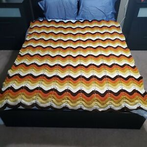 Vintage Handmade Crocheted Multicolor Wave / Chevron Afghan Blanket  64x77