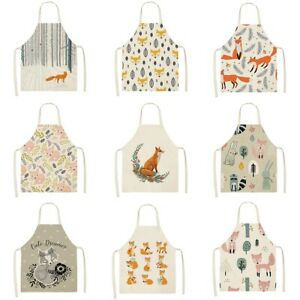 Waterproof Leaves Fox Cat Pattern Cotton Linen Apron Kitchen Cooking Bib Aprons