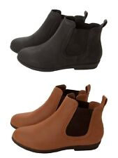 LADIES WOMENS CHELSEA ANKLE BOOTS FLAT PULL ON GIRLS BLACK SCHOOL SHOES SIZE