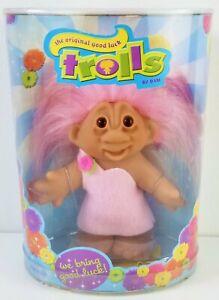 """Trolls by Dam The Original Good Luck Trolls 2005 Pink Dress & Hair 6"""" Doll NRFP"""