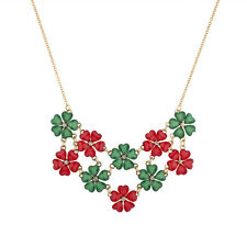 Lux Accessories Holiday Christmas Xmas Red Green Flower Statement Necklace