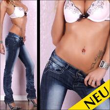 NEU 🌸 Sexy Low Cut BT Jeans Blue Used Denim Silber Orange Stitchery 🌸 36