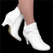 Damen Stiefel Stiefeletten High Heels 7 cm Blockabsatz Brautschuh Boots G51 Weiß