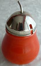 sucrier vintage années 70 en opaline orange et couvercle chromé
