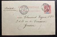 1915 Antsirabe Madagascar Stationery Postcard Cover to Geneva Switzerland