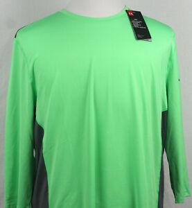 Under Armour Heatgear Fitted Shirt crew neck 3/4 sleeve green/gray size XL & XXL