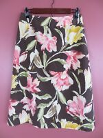 SK11757- TALBOTS Womens 53% Silk Cotton A-Line Skirt Multi-Color Floral Sz 10
