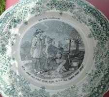 antiker Teller, Motiv Maler, Landschaft, Staffelei, Marke Montereau, Frankeich