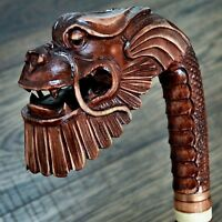 Unique Wooden Walking Stick Cane Hiking Staff hand carved Handmade - Dragon Rich