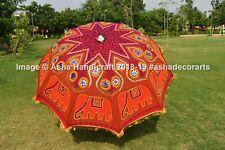 "72"" Indian Hippie Red Elephant Mandala Garden Umbrella Large Patio Parasol Decor"