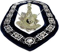 Masonic PENDANT + Collar PAST MASTER BLUE BACKING SILVER CHAIN DMR-200SB+PMPS