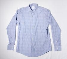 Mens BROOKS BROTHERS Shirt 15 1/2-35 Slim, Lake Blue Glen Plaid Egyptian Cotton