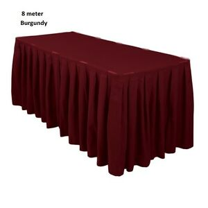 8 Meter Burgundy Polyester Table Skirting Skirt Table Cloth Wedding Events Party
