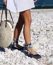Zara Navy Blue Suede Leather Lace Up Espadrilles Flat Shoes EU 39 UK 6 BNWT