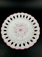 Vintage Vestal Portugal Hand Painted Pink Floral Reticulated 7.5 Wall Plate