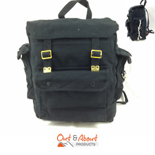 Heavy Duty Canvas Webbing Bag Backpack Bike Travel Tote Carry Camping BLACK