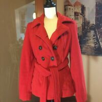 EUC Old Navy red double breasted wool blend pea coat jacket  medium