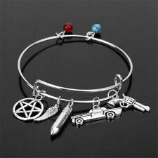 Car Gun Bangle Charms for Men Supernatural Bracelet Pentagram Angel Wing Bullet