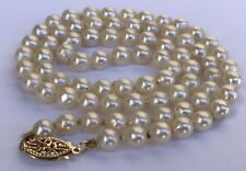 """Vintage 10K White Gold Akoya 4mm Pearl Hand Knotted Necklace 17"""" Long"""