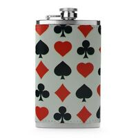 Leather Wrapped 6oz Stainless Steel Flask FSK Black Red Spade Diamond Club Heart