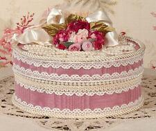 Victorian Rose Keepsake / Trinket Hat Box - Med Round- Vintage Style - Handmade