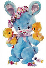 XL VinTaGe IMaGe RePrO BLuE BuNnY BuNNieS CHicKs NuRSeRY ShaBby DeCALs FuRNiTuRe