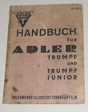 Betriebsanleitung / Handbuch Adler Trumpf + Trumpf Junior von 1937