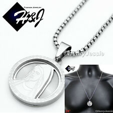 "24""Stainless Steel 2mm Silver Box Link Chain Necklace VIRGIN MARY Pendant*P54"