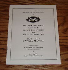 1935 1936 Ford Radio Owners Operators Manual Instruction Book 35 36