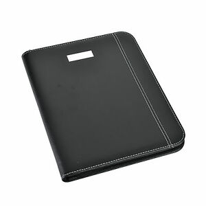 Black A5 Deluxe Executive Conference Folder Calculator/Pad Zip Portfolio CL-9583