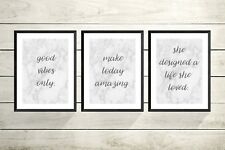 SET OF  3 inspirational Quote A4 Prints- Wall Art-Home Decor -marble quote print
