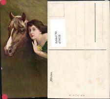 479558,Künstler Ak Märchen Frau Pferd Pferdekopf Portrait