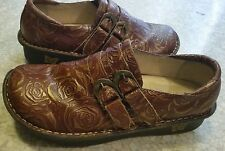 Alegria Alli PG Lite Embossed Leather Shoes Women's 7.5 EU38 Choco Gold Clog GUC